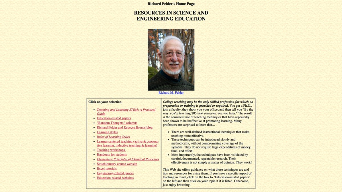 Richard Felder's Legacy Website | College of Engineering