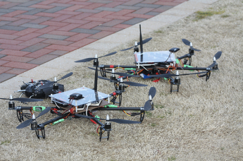 CentMesh drones are ready for a test flight on NC State's Centennial Campus.