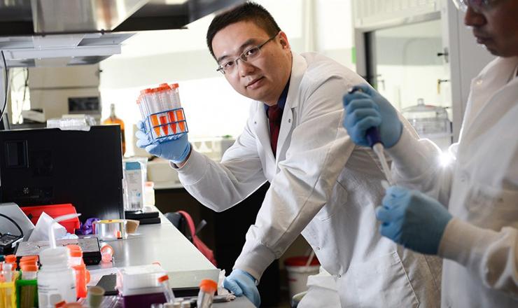 Zhen Gu in his lab on NC State University's Centennial Campus.