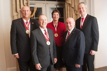 Pictured, from left, Gen. Raymond Odierno, Dr. Michael Creed, Elin Gabriel, Dr. Louis Martin-Vega and Jeffrey Williams.