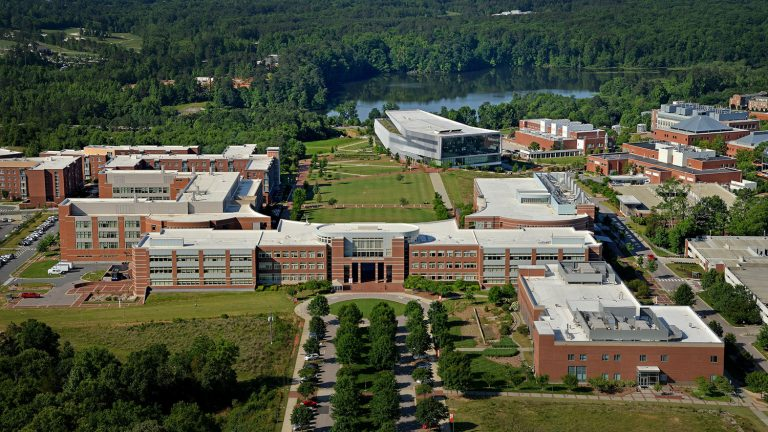 Aerial view of the engineering buildings and Hunt Library on Centennial Campus.