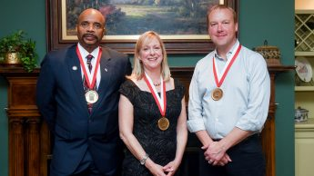 The 2016 recipients of the Distinguished Engineering Alumnus award are shown from left: Brig. Gen. (Retired) Leodis Jennings, Pamela Townsend and Dr. Jason Rhode.