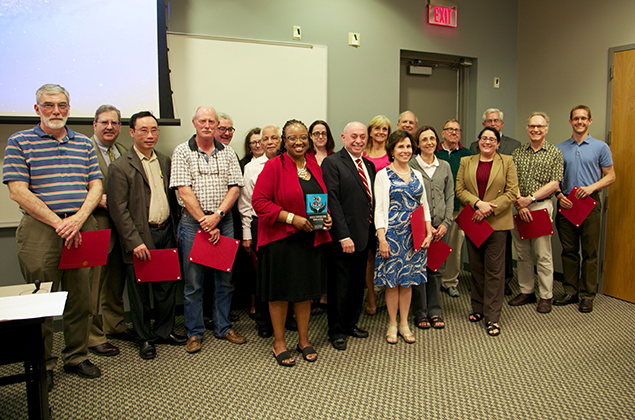 College of Engineering faculty members receive the inaugural Faculty-2-Faculty Mentor Recognition during the College's spring faculty meeting.