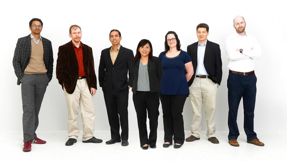 From left, Drs. Srikanth Patala, Alper Bozkurt, Edgar Lobaton, Hsiao-Ying Shadow Huang, Brina Montoya, Chih-Hao Chang, and Brendan O'Connor