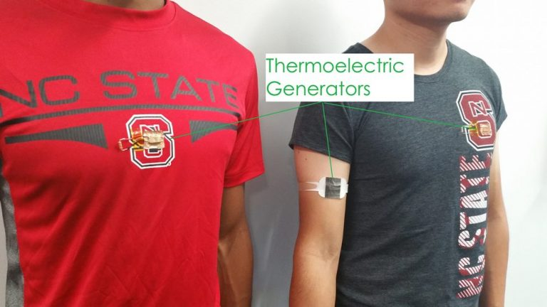 Researchers at North Carolina State University have developed a new design for harvesting body heat and converting it into electricity for use in wearable electronics. Pictured are a thermoelectric generator (TEG) armband (right) and a TEG-embedded T-shirt (left).