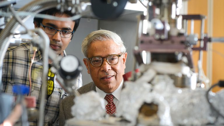 Dr. Jay Narayan works with a graduate student in his lab in the MSE department. Dr. Narayan has created a new form of carbon that can be converted to diamond at room temperature.