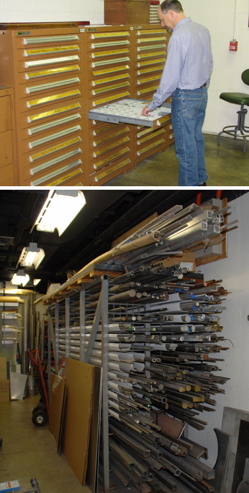 Pictured are a staff member checking supplies (top) and the shop's stock rack.