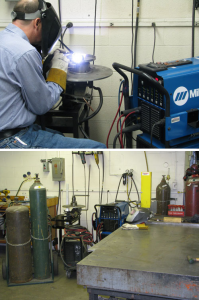 Pictured are an instrument maker using the Miller Dynasty 300 TIG Welder (top) and the shop's welding area.
