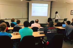 Eneku gave a lecture on the NC State campus during his visit.