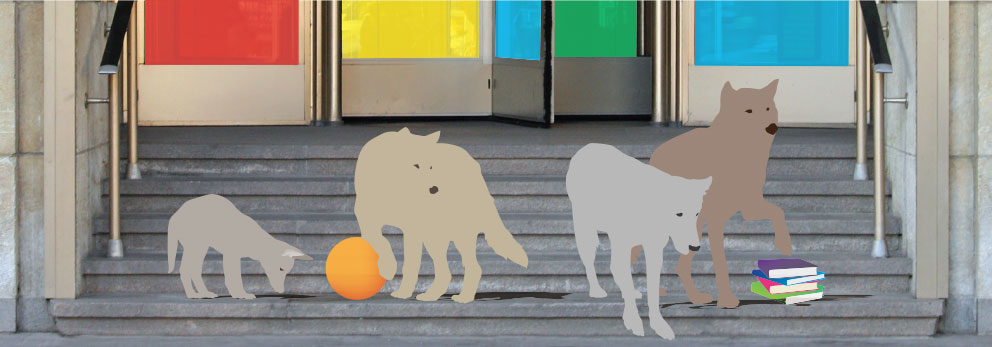 Graphic: student wolves at the entrance to school.