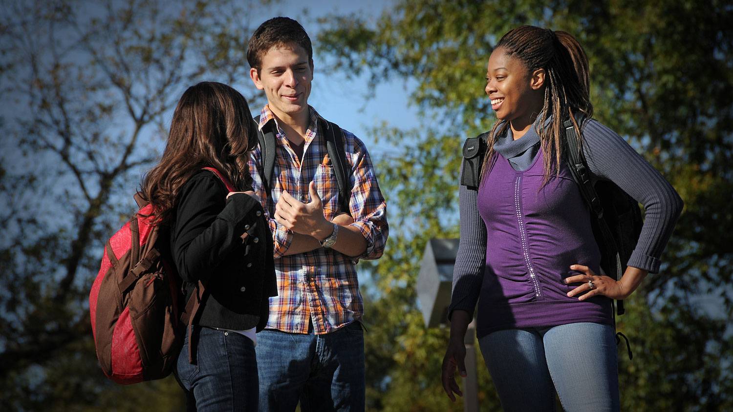 Students chat between classes.
