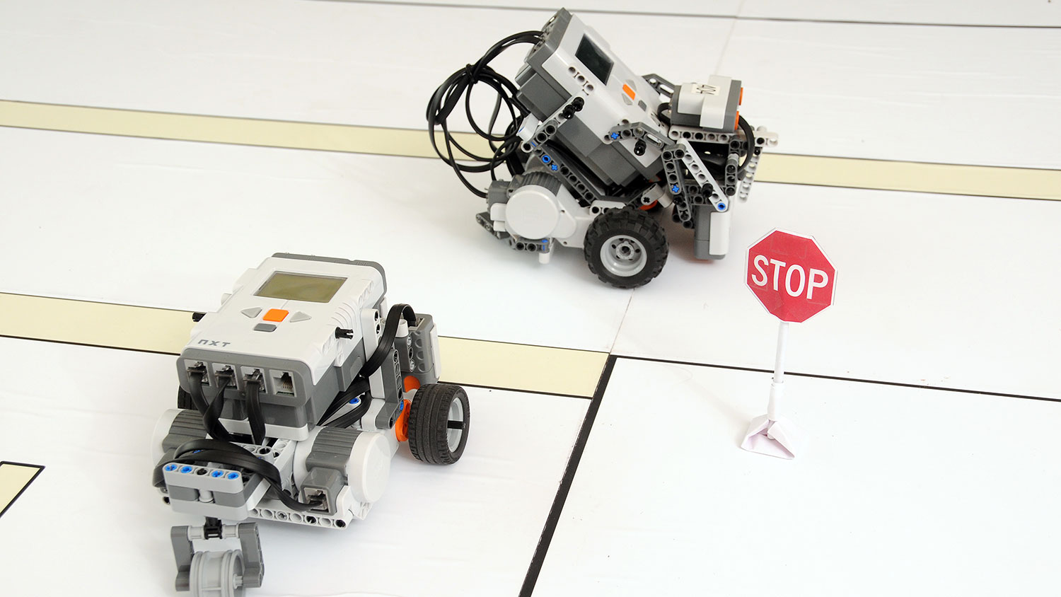 Dr. Mo-Yuen Chow's team's robot cars used to simulate driving in his EB2 lab. (Photo: Roger Winstead, 2010)