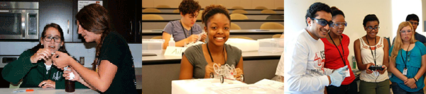 High school campers participate in chemical and biomolecular workshop.
