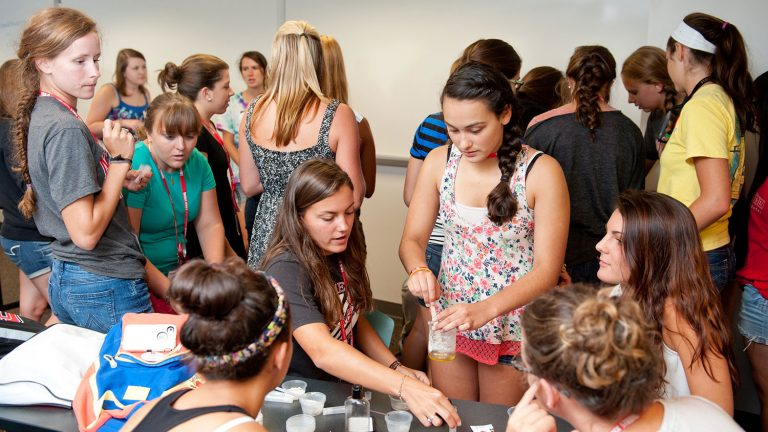 Newly admitted women engineering students participate in Escape Camp, a WIE summer bridge program.