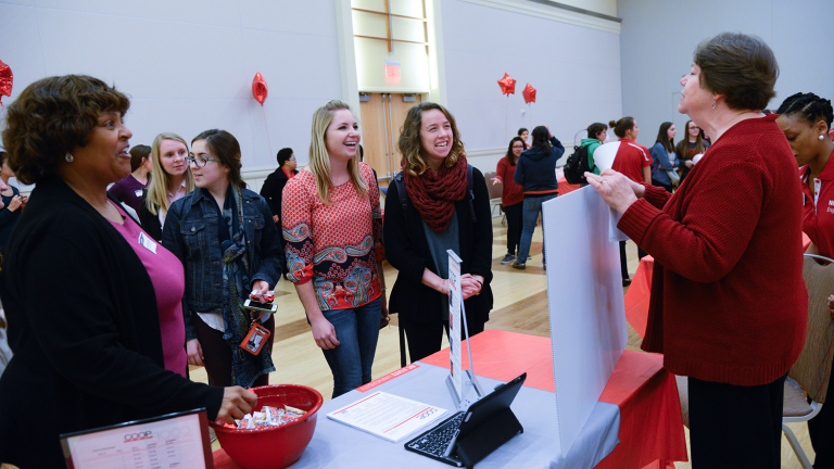 At the annual Taste of Engineering event, departments provide food, hospitality and helpful information to incoming women students.