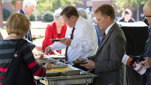Engineering alumni enjoyed a barbecue lunch followed by a homecoming program that included insights into the impactful research being done in their College.