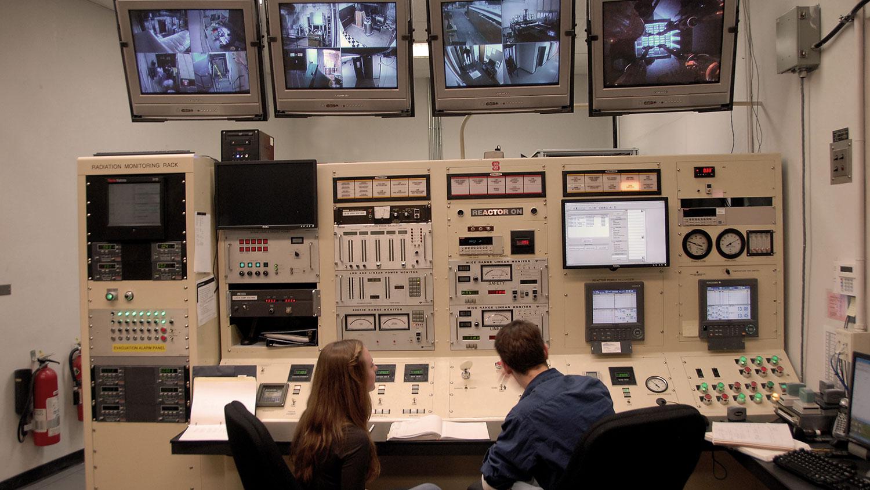 Nuclear engineering students in Burlington Labs.
