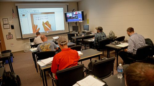 Interactive video conferencing allows CCC-based MES students to attend the same engineering lectures as NC State-based students.