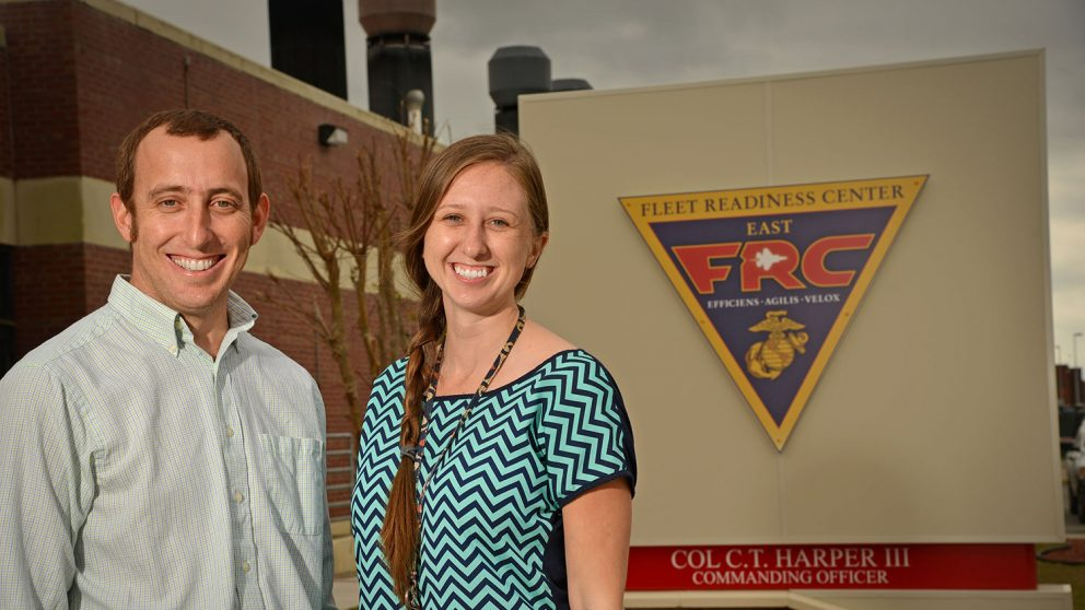 NC State alumni Ramsey Davis and Holly Tucker earned their engineering degrees from the 2+2 site-based engineering program in Havelock, North Carolina.