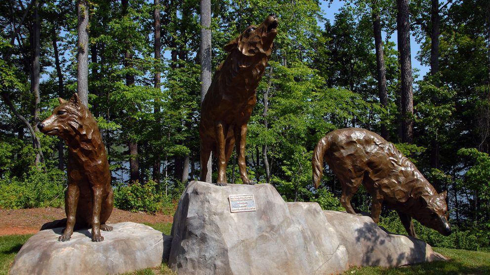 Statues of three wolves