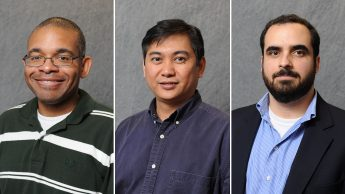 Drs. Joel Ducoste (left), Francis L. de los Reyes (center) and Tarek Aziz (right) were honored by the American Academy of Environmental Engineering and Science (AAEES) in March.