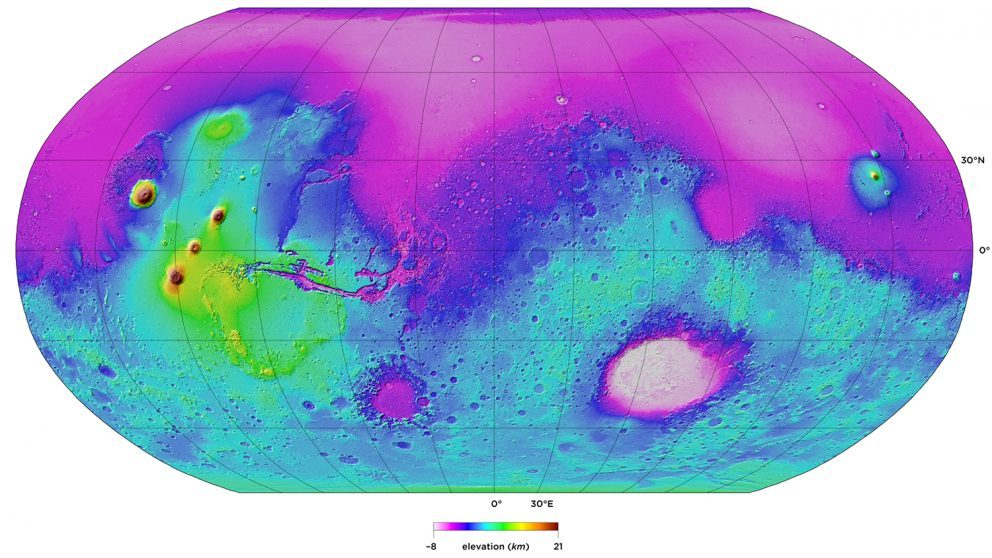 This topographic map of Mars, submitted by Paul Byrne, won first place for faculty in the graphics category.