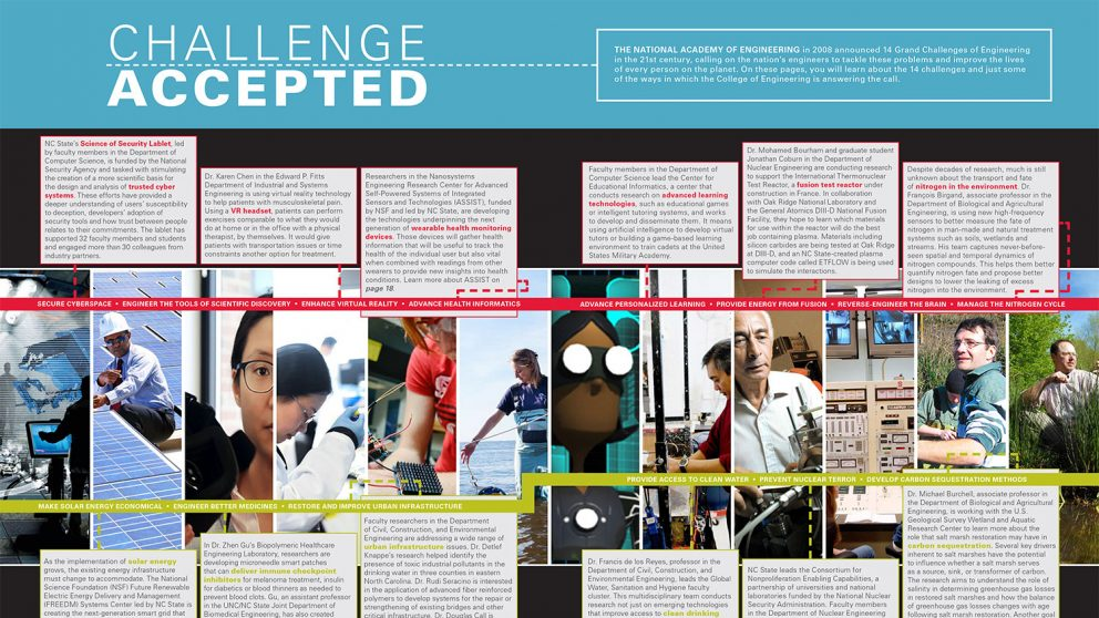 Grand Challenge centerfold for Fall/Winter 2017 NC State Engineering magazine