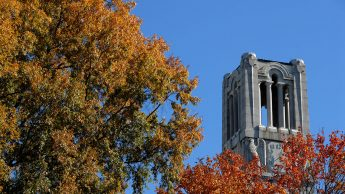 NC State Bell Tower in the fall