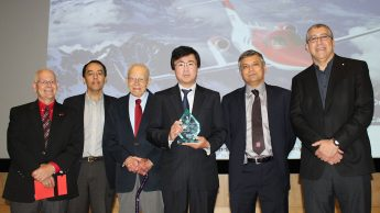From left, Dr. Richard Gould, RJ Reynolds Professor in the Department of Mechanical and Aerospace Engineering (MAE), Dr. Mohammed Zikry, Zan Prevost Smith Professor in MAE; Dr. Hassan A. Hassan, professor in MAE; Michimasa Fujino; Dr. Srinath Ekkad, professor and department head in MAE; and Dr. Basil Hassan, senior manager at Sandia National Laboratories and son of Dr. Hassan Hassan.