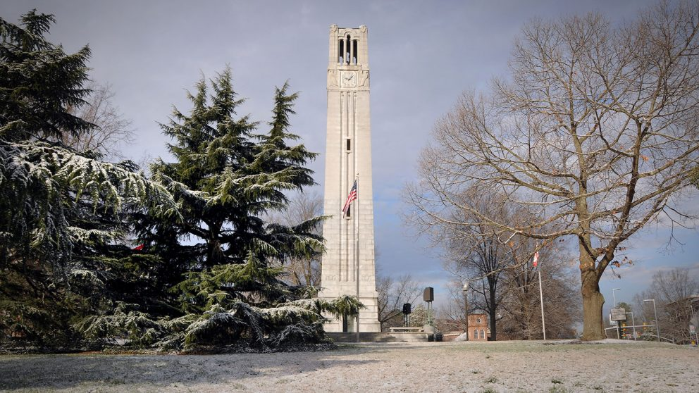 NC State Bell Tower on a snow day