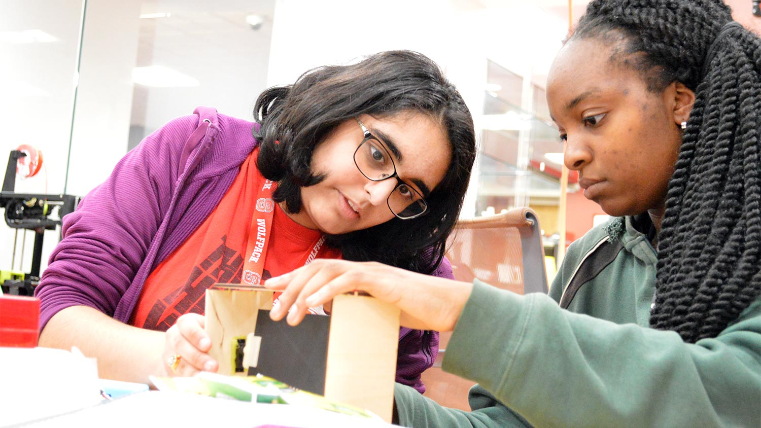 Students build a prototype of their sustainability solution during NC State's Make-a-thon.