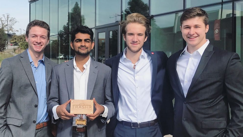 (From left) NC State students Nick Conlon, Goutham Subramanian, Hartley LeRoy and Nick Sischo are founders of Trashr, a startup company aiming to improve waste collection.