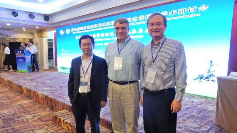 (left to right) Allen Zheng (Ph.D., 2002), Christopher Frey and Joshua Fu (Ph.D., 2000)