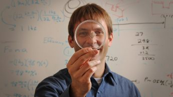 Michael Dickey and his liquid gallium used create an antenna in a flexible piece of plastic.