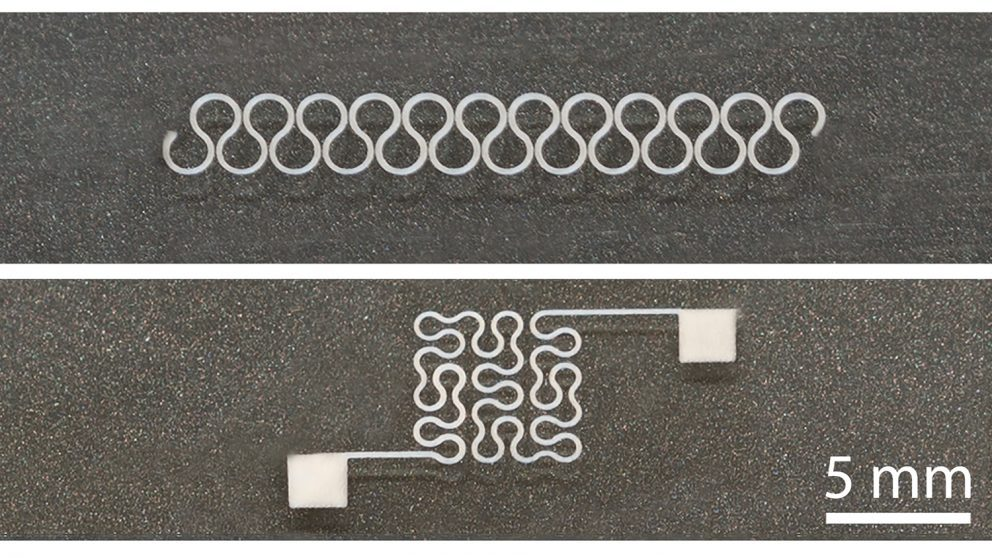 Two printed silver nanowire patterns, horseshoe and Peano curve, with high resolution.