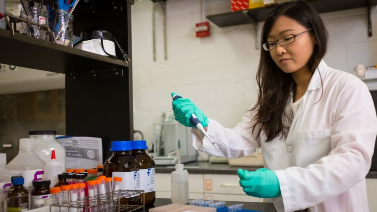 Ling Wang is a Ph.D. student in environmental engineering. Here she is preparing samples for DNA sequencing to determine the microbial communities present in anaerobic reactors converting grease waste to methane.