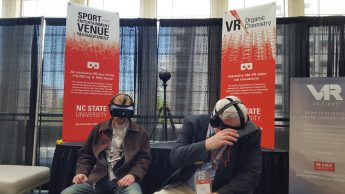 ECGC attendees experience the organic chemistry and Sport and Entertainment Venue Management VR modules.