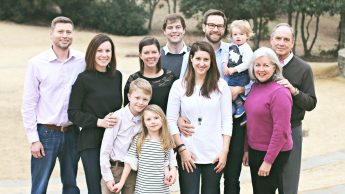 Tony Sigmon, far right, is shown with his family. In the front row, from left, are grandchildren Carson and Finley Capps. In the second row, from left, are Erin Capps, Hannah Abernethy, Sara Sigmon and Nancy Sigmon. In the back row, from left, are Cory Capps, Richard Trevorrow, Daniel Sigmon and grandchild Jude Sigmon.