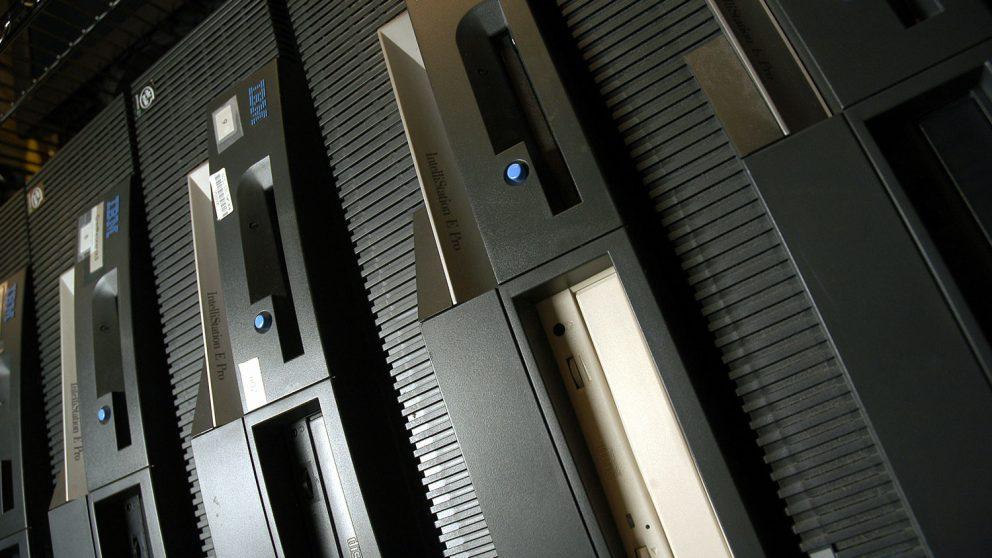 bank of hard drives