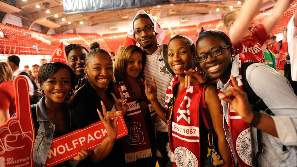 Students at Wolfpack sporting event