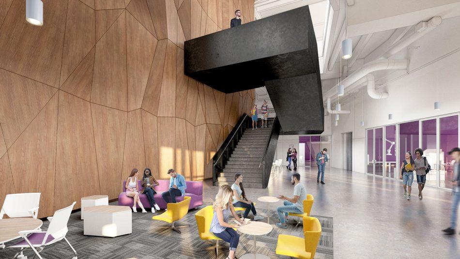 Rendering of Fitts-Woolard Hall lobby