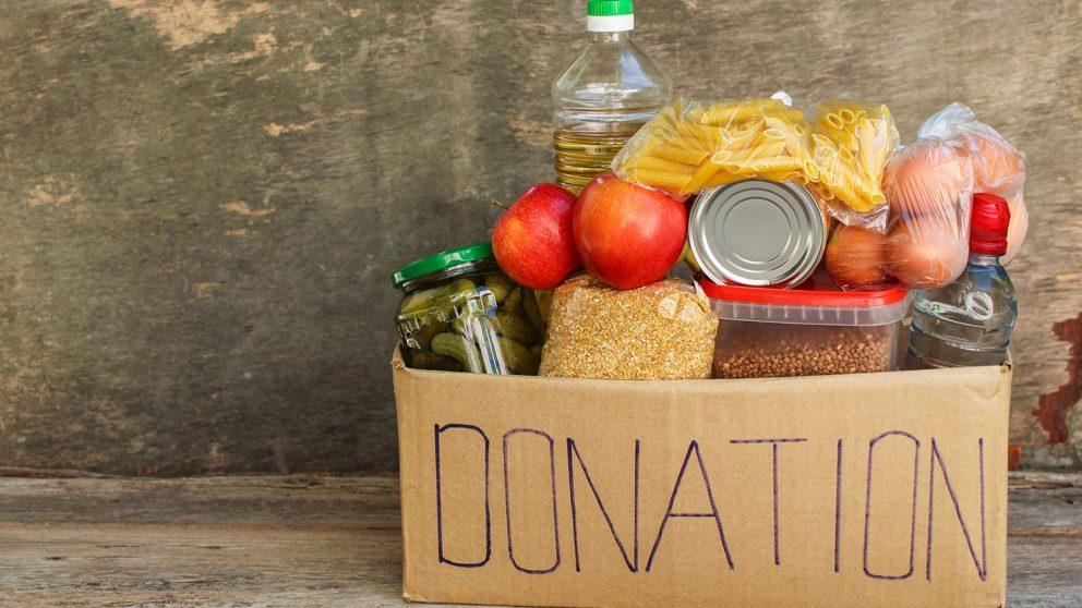 Donation box of food