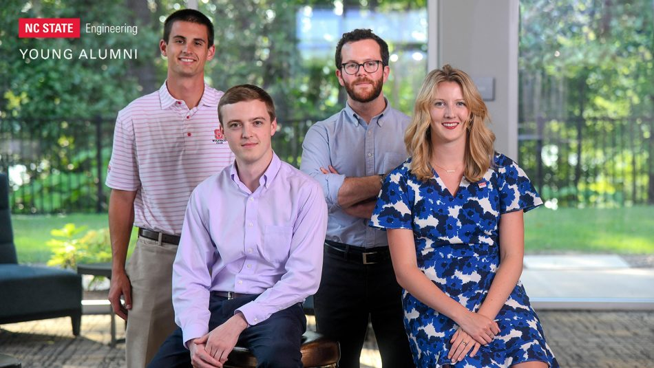NC State Engineering Young Alumni Advisory Board committee chairs: Jacob Bowes, Sam Wurst, Joseph Silvers and Laura Geary
