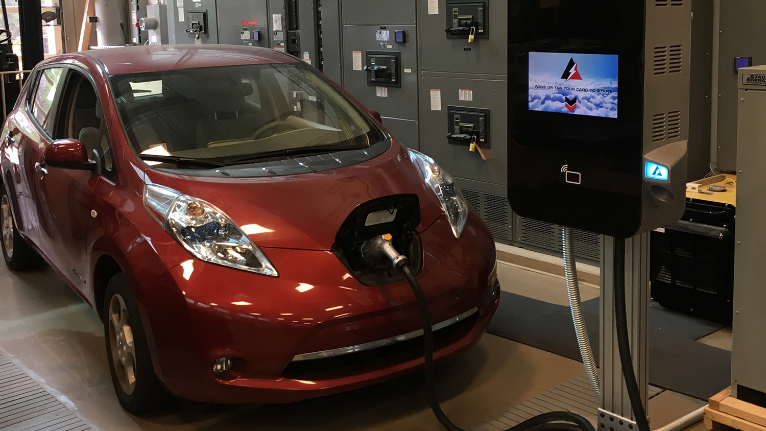 Electric car hooked up to Dr. Srdjan Lukic's fast charger