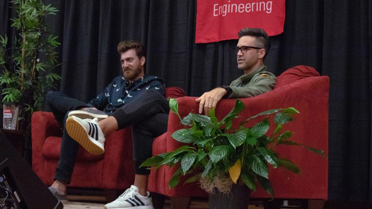 Rhett and Link returned to NC State Saturday to speak to a sold-out crowd in Hunt Auditorium on NC State's Centennial Campus, talking about their non-traditional path into entertainment and their advice for students. (Photo: October 2018)
