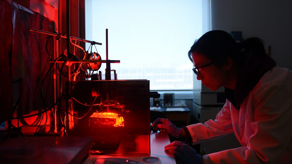 Student works in the lab of Dr. Michael Dickey. (Photo by Marc Hall)