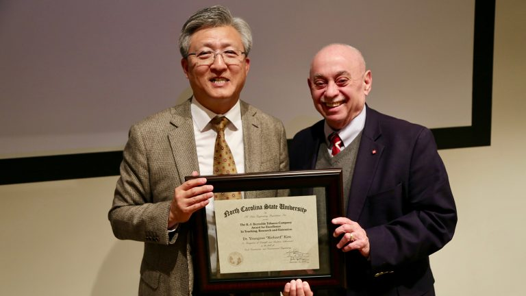 "Dr. Youngsoo ""Richard"" Kim and Dr. Louis Martin-Vega, dean of the College"
