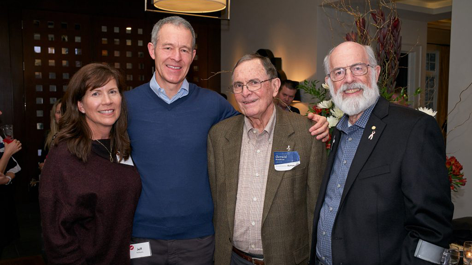 Melissa and Jeff Williams (L) celebrate the 50th anniversary of the Caldwell Fellows Program with Gerald Hawkins and Bill Sternbergh.