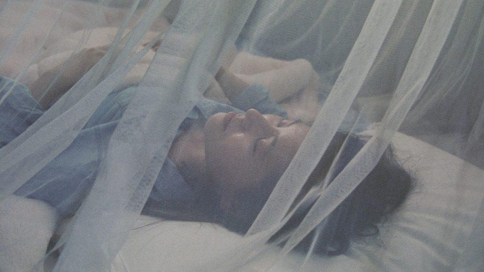 Woman sleeping under mosquito net.