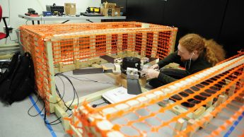 ECE 485 senior works on the In-Flight Blade Inspection System project for NAVAIR.
